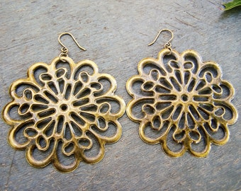 antiqued brass earrings with large filigree design