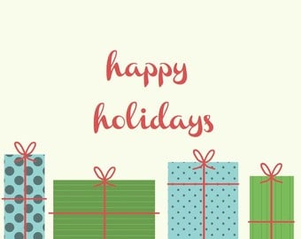 Happy Holidays - Holiday Card w/Gifts