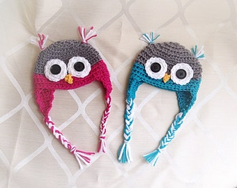 Pink/Blue Owl Hat <3
