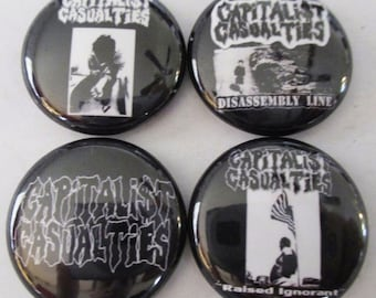 """CAPITALIST CASUALTIES 1"""" Button Lot Of 9 punk rock buttons badges pins Free Shipping"""