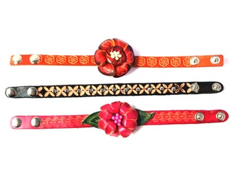 Genuine Leather Bracelet, Sun Flowers Leather Bracelet, HFF145453