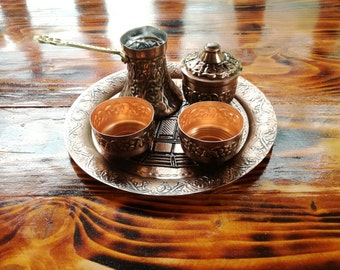 Hand Made Authentic Copper Bosnian Coffee Set