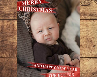 Christmas Greeting Card Template 5x7 Digital Download Photoshop #1004