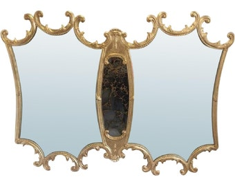 Vintage Gold Gilt Italian Mirror with Mercury Glass! Lager Hollywood Regency Gold Mirror - Very Large Wall Mirror - Made in Italy