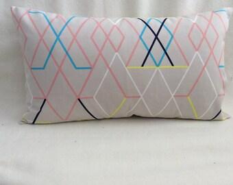 Modern Designer Lumbar Pillow Cover - Pink/Blue/Beige