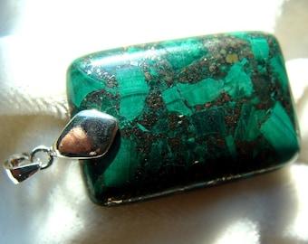 Malachite in Pyrite Pendant Sterling Silver Bail - Gorgeous!