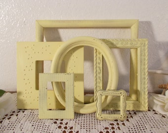 Yellow Shabby Chic Picture Frame Set Photo Gallery Collection French Country Farmhouse Beach Cottage Southern Sun Room Home Decor Gift Her