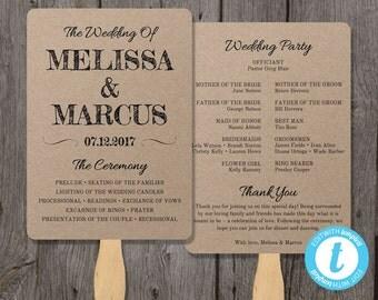 Rustic Wedding Program Fan Template, Fan Wedding Program Template - Instant Download - Edit in Our Web App - Rustic Design