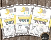 TWINS Love You to the Moon and Back Baby Shower Invitation - Gender Neutral - Girls - Boys - Modern Design - Front and Back Included -