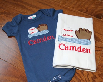 Baseball Applique Onesie/Burp Cloth Set