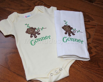 Monkey Applique Onesie/Burp Cloth Set