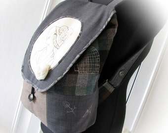 Rucksack patchwork, patchwork Backpack, handmade Backpack,Rucksack retro style, Art style