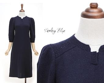 lovely and ladyish knitdress,knitted dress, navy color knitting dress, simple dress,elegant dress, knitdress