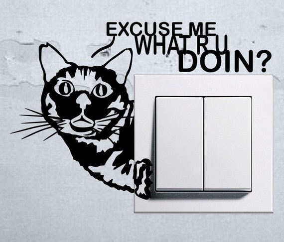 Funny Cat Light Switch Wall Decal by Stickersshopthree