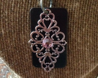 Antique bronze and silver filigree pendant necklace