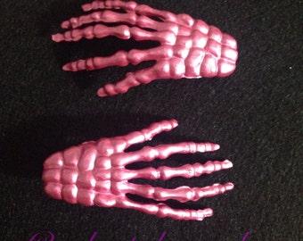 Metallic Pink Skeleton Hand Hair Clip