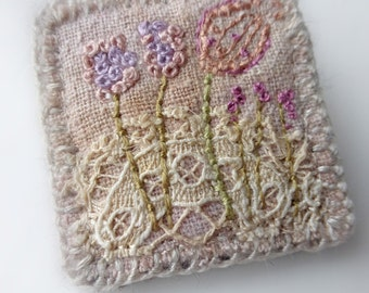 Garden brooch, textile brooch, stitched flowers, small brooch, mini art brooch, lace and stitch, embroidered brooch
