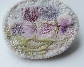 Oval Flower Brooch, stitched felt brooch, embroidery to wear, eco dyed textile brooch
