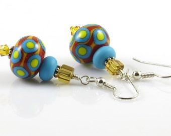 Bright Earrings, Blue and Yellow Earrings, Turquoise Lampwork, Beaded Earrings, Fiesta Earrings