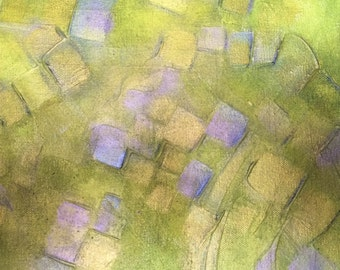 field of square flowers, acrylic and gesso
