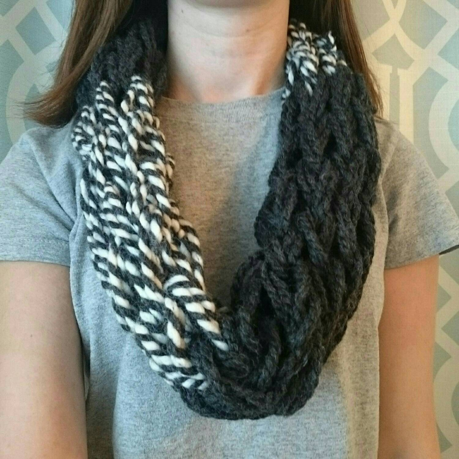 Arm Knitting Cowl : Chunky arm knit loop scarf cowl striped white and black women