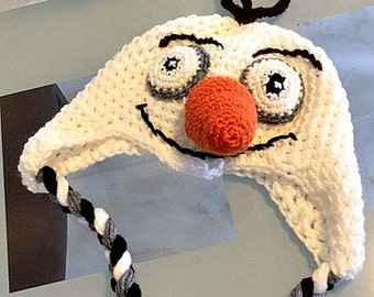 Super Cool Olaf Hats with Earflaps - Handmade Crocheted Hats in Newborn to Adult Sizes