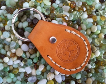 Genuine leather keychain key ring fob in Desert Tan, hand-sewn and stamped with round Tree of Life, double sided