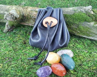 Leatheroak: Black genuine leather drawstring pouch with handmade Red Oak wood toggle closure