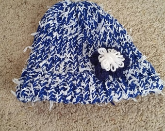 Blue and White flower hat