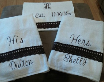 His and Hers Personalized Bath Towels