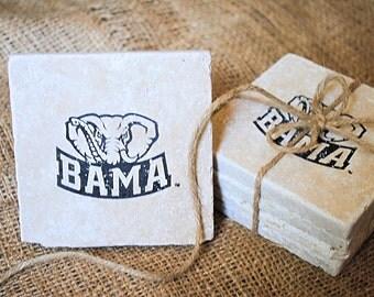 Bama Coasters, Crimson Tide, Roll Tide, Christmas Gift, University of Alabama, SEC Football, College Football, Set of 4 Coasters