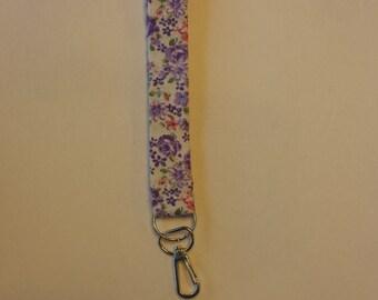 Purple Floral Key Fob