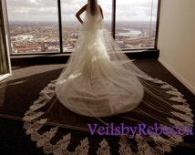 Cathedral lace veil with blusher, 2 tiers cathedral lace veil, ivory lace cathedral veil, cathedral wedding veil bridal veil