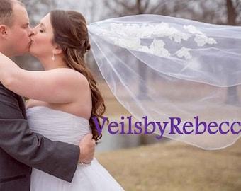 Scattered lace applique tulle veil,simple 1 tier tulle lace veil, fingertip lace veil, short lace flower veil, fingertip wedding veil V604