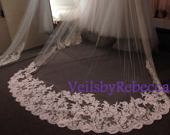 1 tier cathedral lace applique veil, ivory lace flower cathedral veil, cathedral lace wedding veil, long lace bridal veil, custom made veil