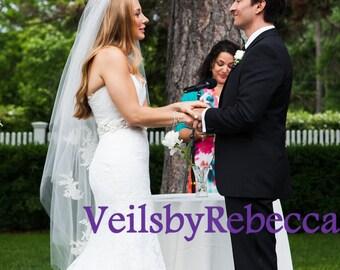 Handmade 2 tier scattered lace tulle veil,waltz lace veil, lace flowers fingertip wedding veil,drop lace tulle veil, blush pinnk veil  V605