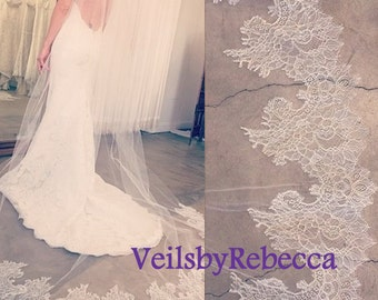 1 tier cathedral lace veil,ivory cathedral lace veil,french Chantilly lace tulle cathedral veil,cathedral wedding veil,lace bottom veil V612