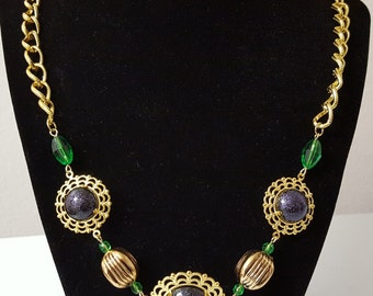 Purple, Green, Gold Necklace