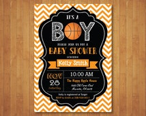 Basketball Baby Shower Invitation. Boy Baby Shower Invitation. Sports Baby Shower Invite. Chalkboard. Printable Digital.
