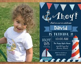 Nautical Birthday Invitation with Photo. Ahoy Sail Boat Boy Birthday. 1st First Birthday. Anchor Red Navy Blue White. Printable Digital.