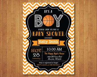 Basketball Baby Shower Invitation. Boy Baby Shower Invitation. Sports Baby  Shower Invite. Chalkboard