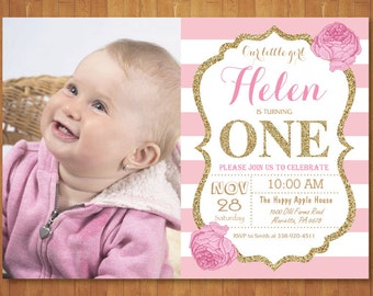 Pink and Gold First Birthday Invitation with Photo. Girl Birthday Party. Gold Glitter. Pink Gold White Black Stripes. Printable Digital