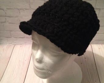 Crochet Newsboy Hat - Newsboy Cap - Baseball Hat - Newsboy Hat -News Boy Hat - Black Hat - Birthday Gift - Warm Hat