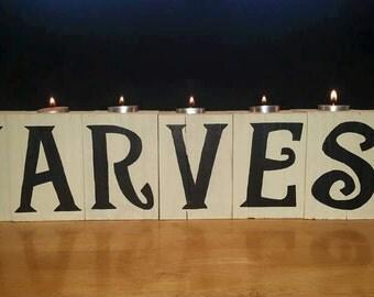 Wooden fall decor, harvest tea light, harvest decor, home decor, candle holder