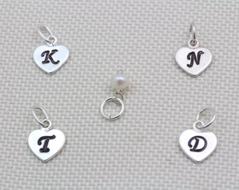 Sterling Silver Heart Charm with Initial, Customized initial silver heart 7mm.  Monogram charm