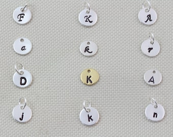 Sterling Silver Disc Charm Initial, Customized initial disc.