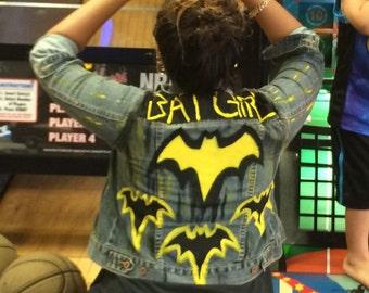 Bat girl jean jacket-wearable art-designer-80s clothing- bat girl cosplay
