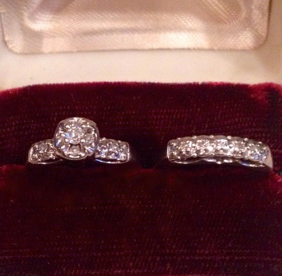 Vintage 14k White Gold Diamond Engagement By