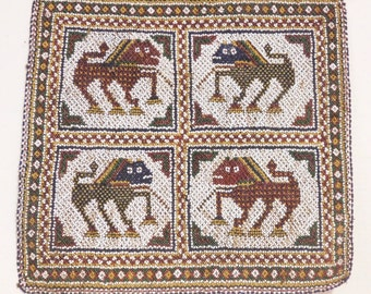 Indian Hindu Gujarati wedding mat-- woven bead lions