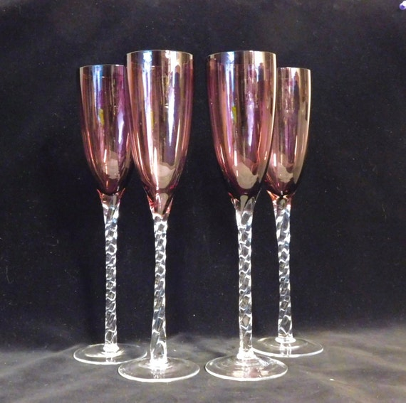Hand blown champagne flutes amethyst glass bowls twisted - Hand blown champagne flutes ...